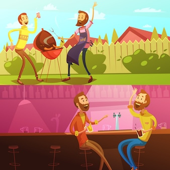 Friends having rest horizontal background set with barbecue and bar cartoon isolated vector illustration