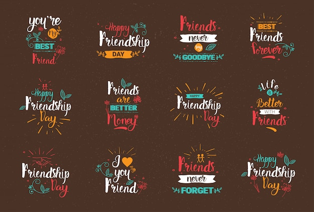 ハッピーフレンドシップデーのロゴセットグリーティングカードコレクションfriends holiday banner