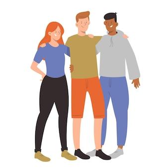 Друзья обнимаются концепция дня молодежи