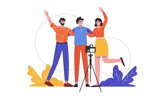 友達は抱擁し、三脚にカメラで撮影されます。男性と女性が一緒に楽しんで、自分撮り写真を撮ります。人々のシーンは孤立しています。最高の思い出のコンセプト。フラットミニマルデザインのベクトル図