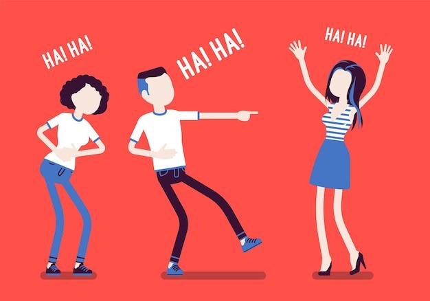冗談を言ったり笑ったりする友達。幸せな女の子と若い男の子は、面白いフレンドリーなジョーク、楽しみ、娯楽、ポジティブなユーモアを交えた心のこもったお腹の笑いを一緒に楽しんでいます。ベクトルイラスト、顔のない文字