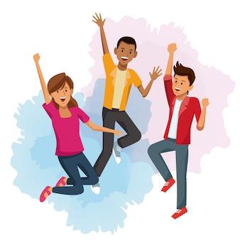 Friends jumping cartoon