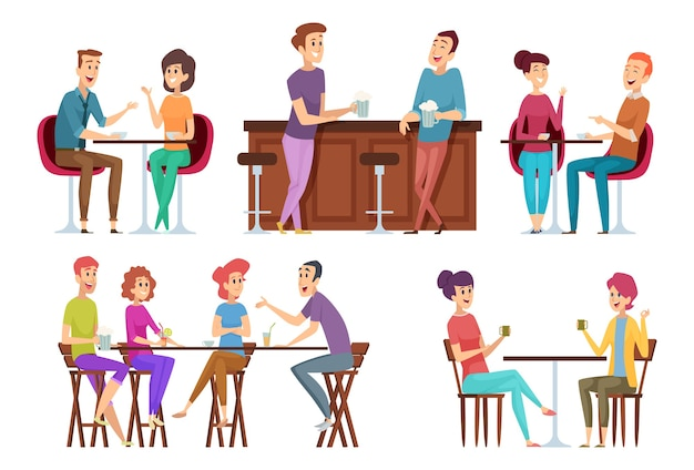 Friends meeting cafe. restaurant dinner happy people group eating and joking talking and smiling friends vector