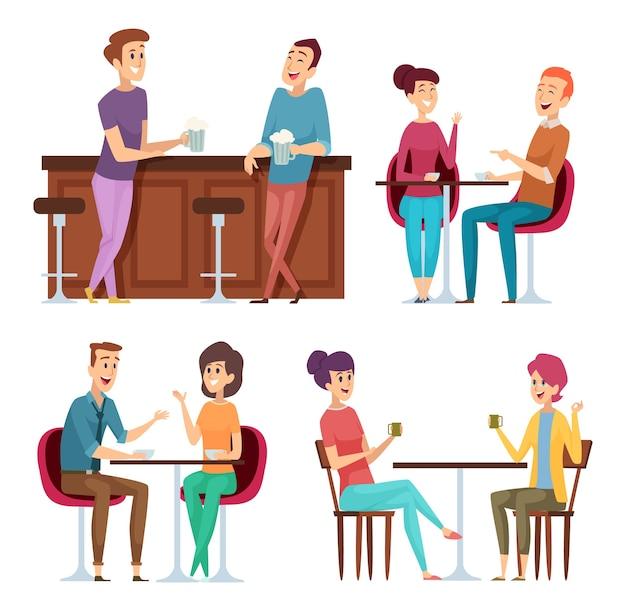 友達会議。幸せなグループの人々が座って笑顔の友達のキャラクターに会うカフェレストランバーでリラックス