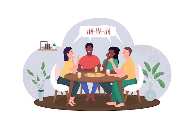 Друзья встречаются над пиццей плоской цветной иллюстрации шаржа