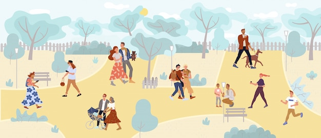 Friends, newlyweds, lonely people, family in park