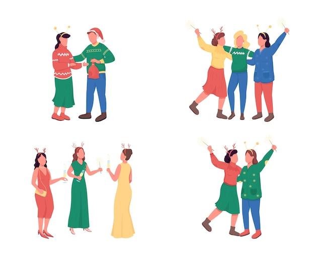 クリスマスパーティーの友達フラットカラー顔のない文字セット。贅沢なパーティー。 webグラフィックデザインとアニメーションコレクションのお祝いの休日のお祝いの孤立した漫画イラスト