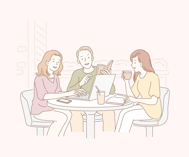 Friends at open air cafe and chatting together in line art