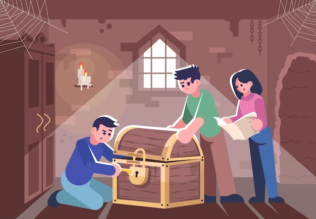 Friends opening closed chest flat illustration.