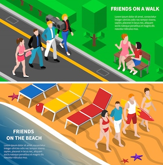 Friends outdoor isometric banners