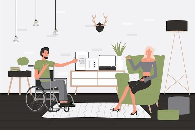 友達の人々のコミュニケーションベクトルイラスト。自宅のリビングルームのインテリアで車椅子に座っている漫画障害者男性キャラクター