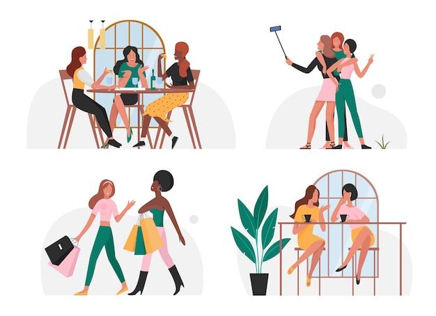 Друзья люди проводят время вместе набор молодых счастливых женщин, делающих покупки селфи