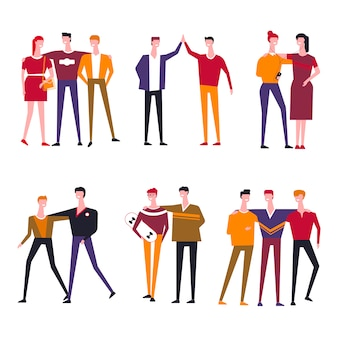 Friends people vector flat icons