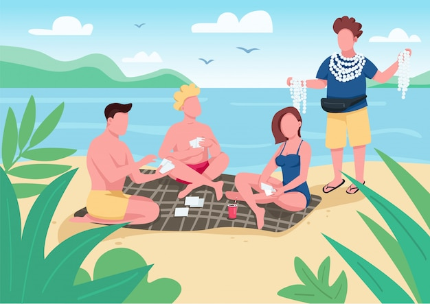 Friends playing cards on beach  color  illustration.