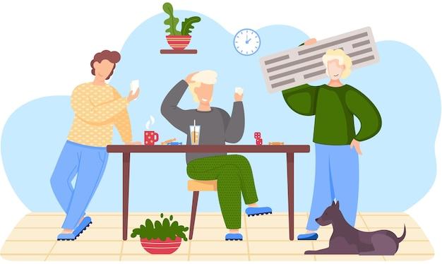Друзья играют в карты, сидя за столом