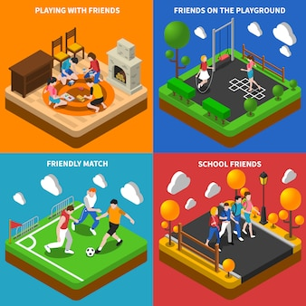 Friends playing isometric card set