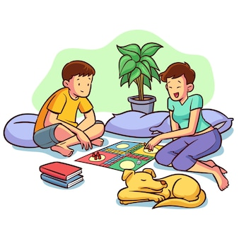 Друзья играют в игру людо и собака