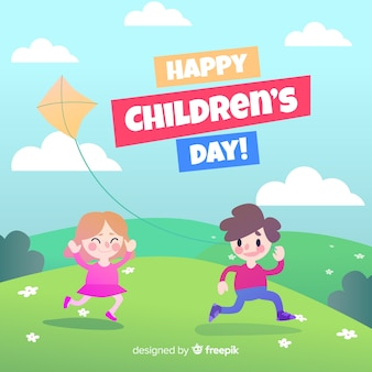 Friends playing with kite children's day background