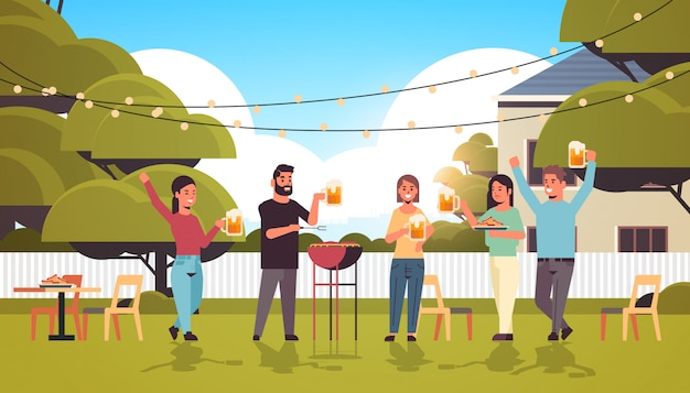 Friends preparing hot dogs on grill and drinking beer happy men women group having fun backyard picnic barbecue party concept flat full length horizontal