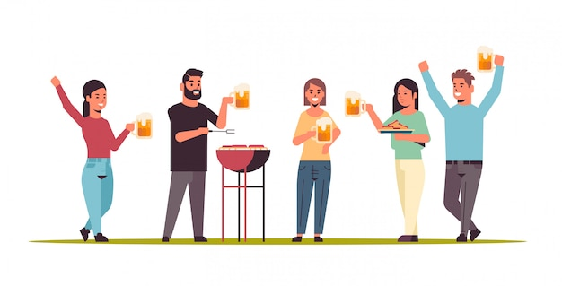 Friends preparing hot dogs on grill and drinking beer happy men women group having fun picnic barbecue weekend party concept flat full length horizontal