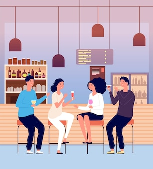Friends in pub. men and women drink alcohol shots and make toast. people talking and relaxing in bar