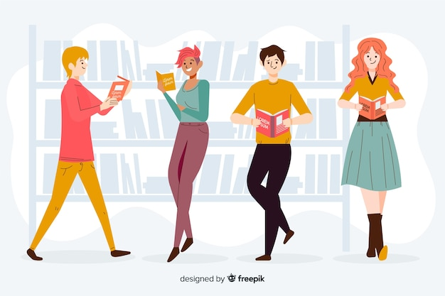 Friends reading together illustrated
