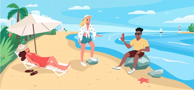 Друзья отдыхают на песчаном пляже плоские цветные рисунки
