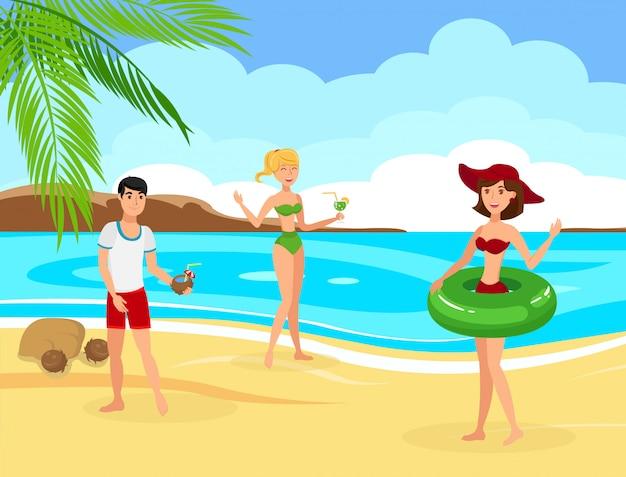 Friends rest on tropical island flat illustration