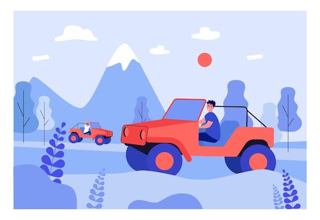 山にドアや屋根のないジープに乗っている友達。自然の中で運転する漫画のキャラクターフラットベクトルイラスト。バナー、ウェブサイトのデザイン、またはランディングウェブページの旅行、冒険のコンセプト