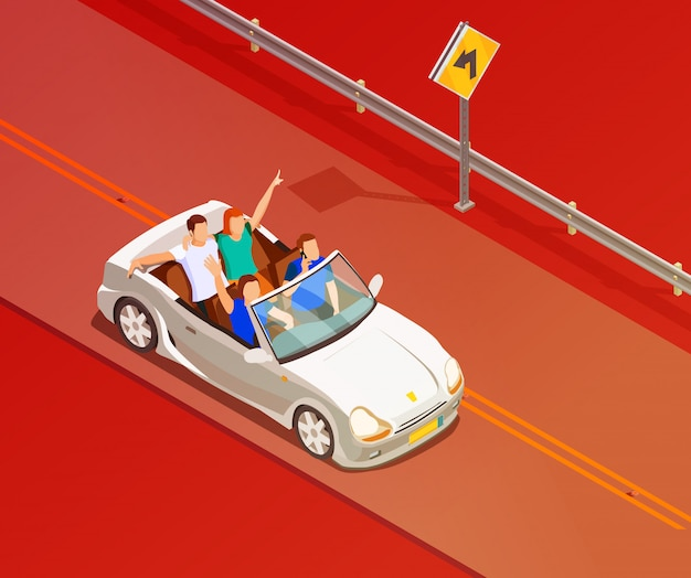 Friends riding luxury car isometric poster