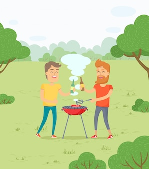 Friends roasting meat bbq in forest park weekends