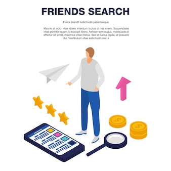 Friends search template, isometric style