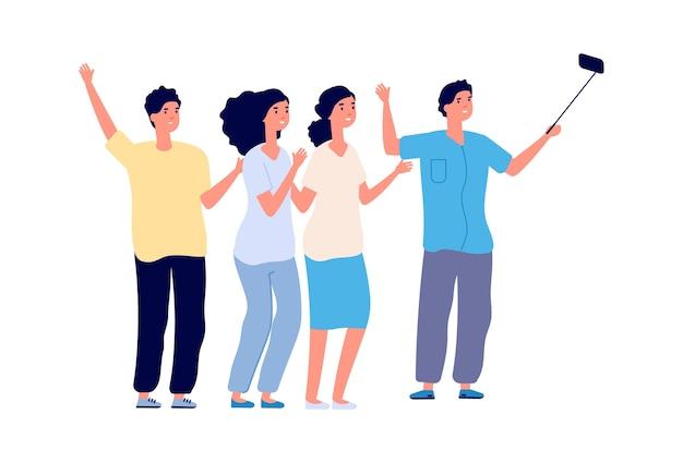 Селфи друзей. изолированные студенты ведут видеоблог или прямую трансляцию. плоские люди группы в отпуске, мужчина женщина вместе векторные иллюстрации. люди девочка и мальчик в селфи социального образа жизни
