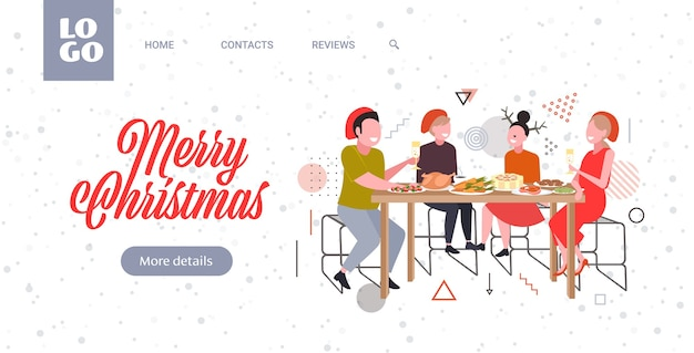 Friends sitting at table having christmas dinner merry xmas  winter holidays celebration concept greeting card full length horizontal vector illustration