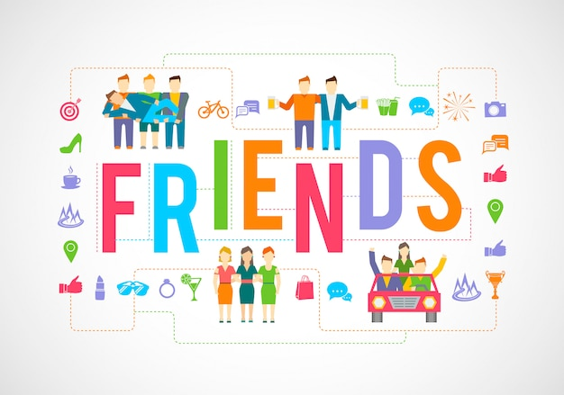 Friends and social community relationship icons flat set