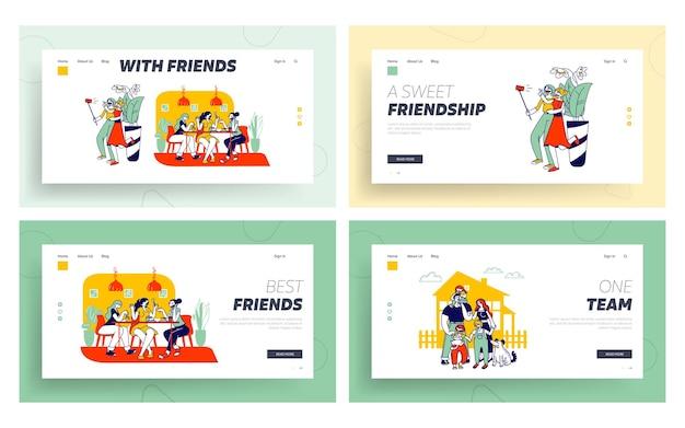 Friends spare time website landing page set.