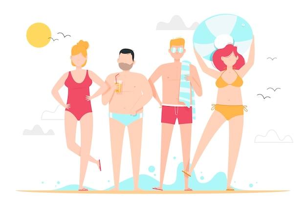 Amici che trascorrono del tempo in spiaggia