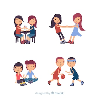 Friends spending time together flat design