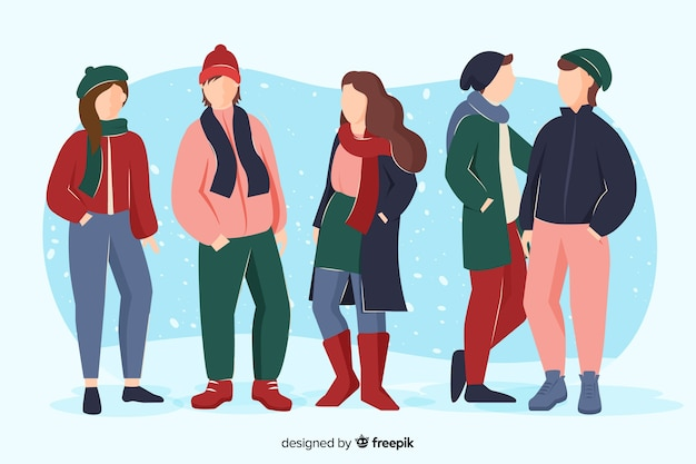 Friends spending time together and wearing winter clothes