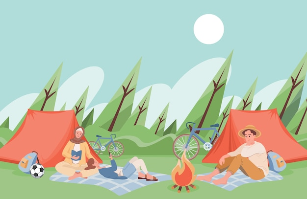 Friends at summer camping spending time together, reading books near campfire.