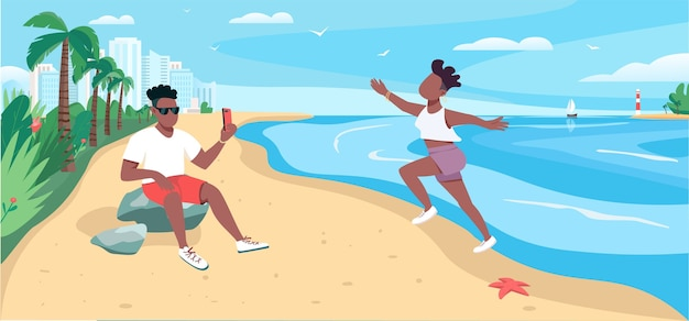 Friends taking photo at sandy beach flat color illustration. summertime recreation.