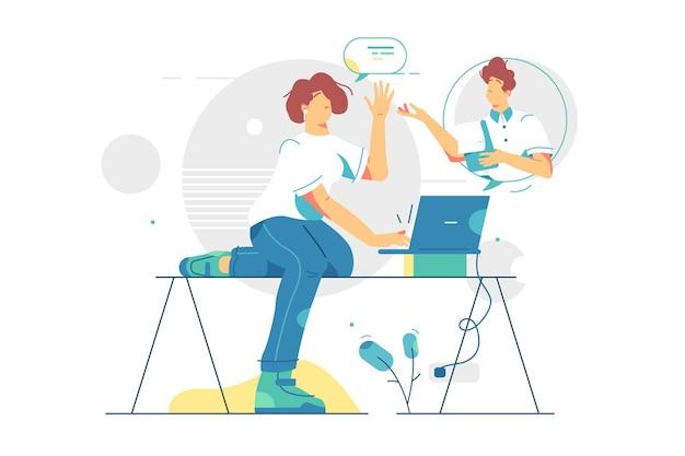 친구는 원격 통신 그림을 통해 이야기합니다. 친구는 현대 기술 플랫 스타일을 통해 이야기합니다. 얼굴 시간을위한 노트북. 사회적 거리, 온라인 통화.
