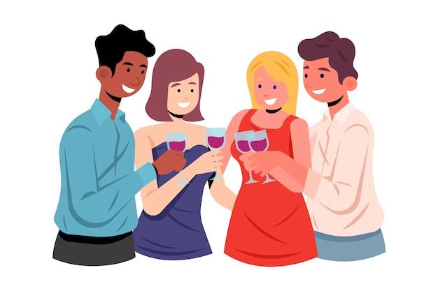 Friends toasting together design