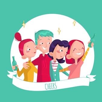 Friends toasting together illustration