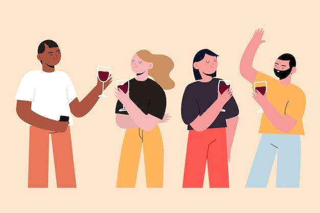 Amici che tostano insieme illustrazione