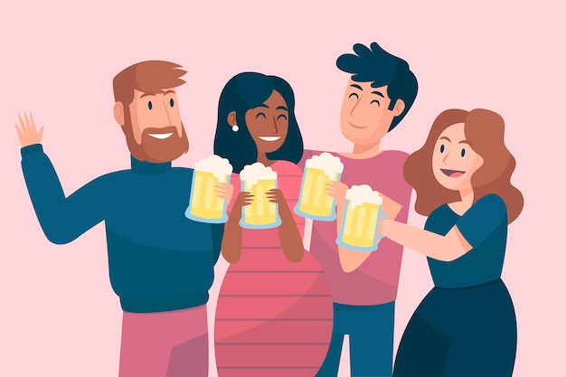 Friends toasting together with beer glasses