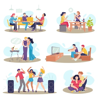 Friends together set of friendly people  illustrations. friendship, relationship between man and woman. dancing, eating, speaking and spending time together. social pastime, person and society.