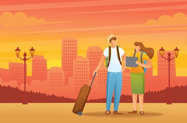 Друзья путешествуют по городу с электронной картой на планшете