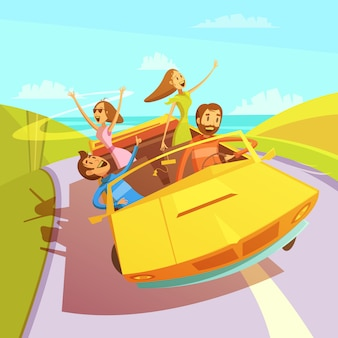 Friends traveling in a cabriolet to the sea background with men and women