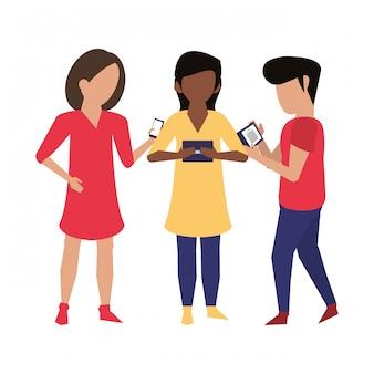 Friends using smartphone technology cartoon